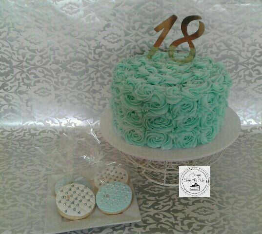 18th Rosette Cake with Matching Quilted 18 Cookies