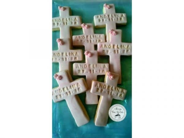 Marbled Pink & White Baptism Cross Cookies Personalised with Name & Date