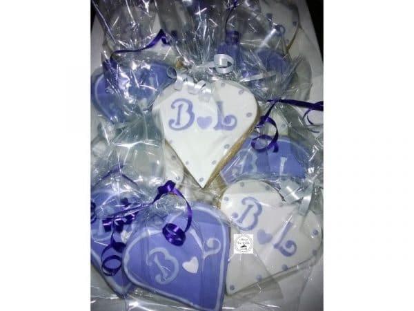 Engagement Personalised B & L Heart Purple White Cookies