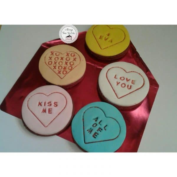 Message Heart Cookies Valentines Day
