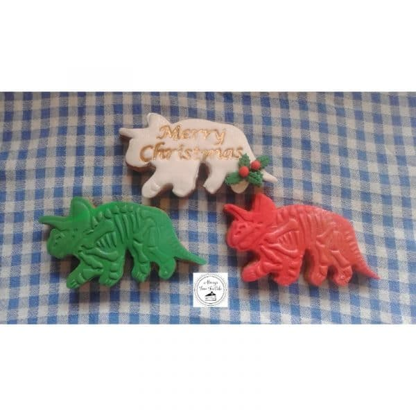 Dinosaurs Merry Christmas Stamped Festive Cookies