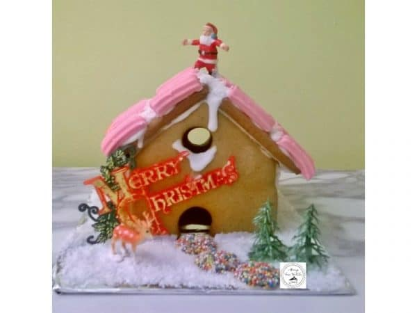 Gingerbread House Santa's On The Roof