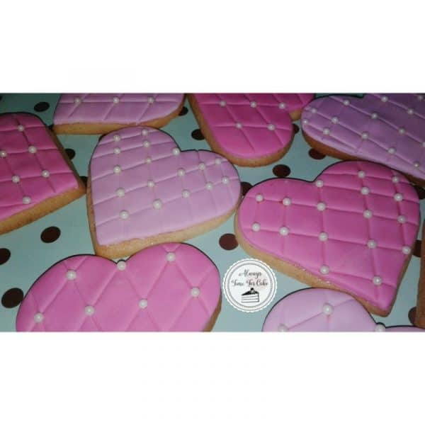 Quilted Heart Cookies Birthday Favours Hot Pink Light Pink