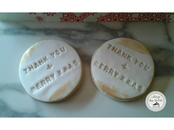 Thank You & Merry Xmas Stamped Cookies with Gold
