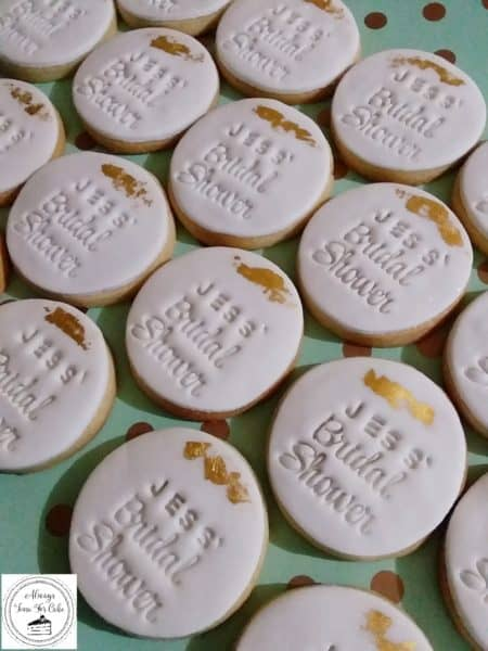 Personalised Bridal Shower Cookies Gold Leaf