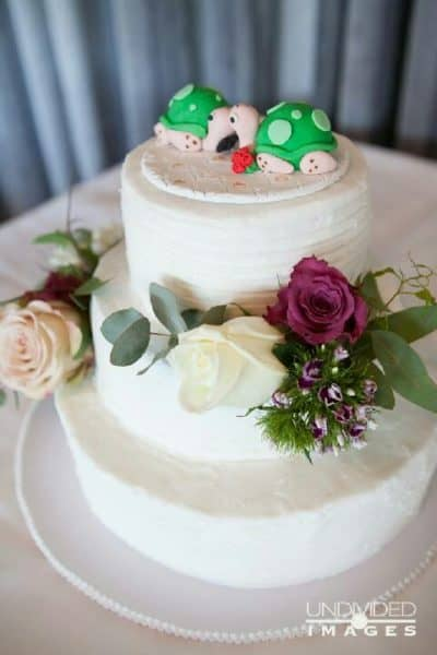 Three Tier Wedding Cake Country Style  Turtle Bride and Groom