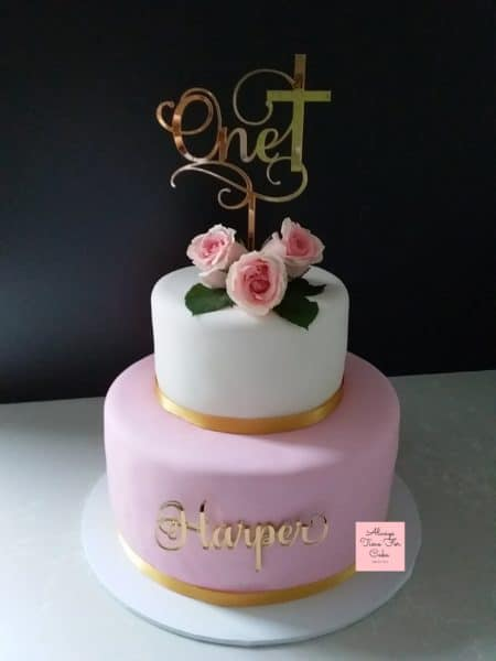 1st Birthday Cake Baptism Cake Joint Celebration Pink White Gold Fresh Flowers 2 Tiers