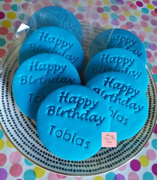 Blue Happy Birthday Cookies Personalised Birthday Favours